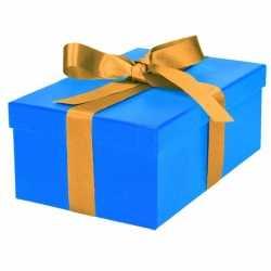 Blauw cadeaudoosje 21 gouden strik