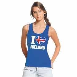 Blauw i love ijsland fan singlet shirt/ tanktop dames