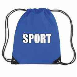 Blauw sport rugtasje/ gymtasje kinderen