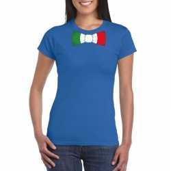 Blauw t shirt italie vlag strikje dames