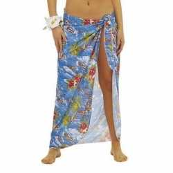 Blauwe hawaii verkleed sarong rok dames