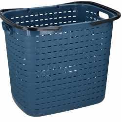 Blauwe hoge kunststof wasmand 45 liter