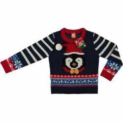 Kersttrui Voor Kinderen.Blauwe Kersttrui Pinguin Kinderen Yahh Nl