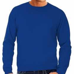 Blauwe sweater / sweatshirt trui raglan mouwen ronde hals heren