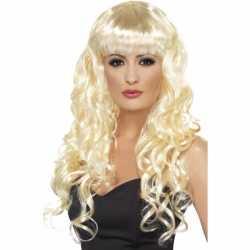 Blonde damespruik krullen