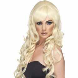 Blonde damespruik lang krullen