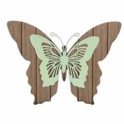 Bruin/mint groene houten vlinder 28