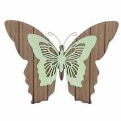 Bruin/mint groene houten vlinder 38