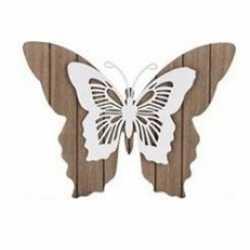 Bruin/witte houten vlinder 28