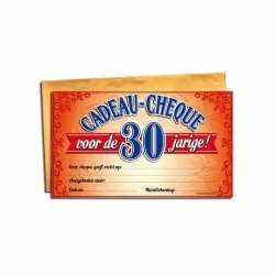 Cadeau cheque 30 jaar 20 bij 34