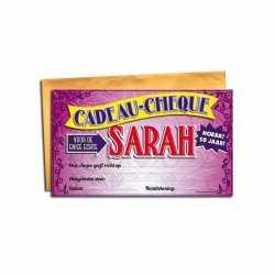Cadeau cheque de Sarah 20 bij 34