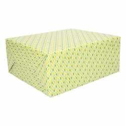 Cadeaupapier driehoekjes groen geel