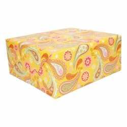 Cadeaupapier geel paisley print