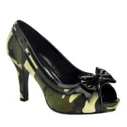 Camouflage peep toe pumps