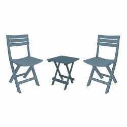 Camping vouwtafeltje grijsblauw 2 stoeltjes