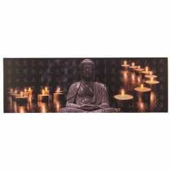 Canvas schilderij led licht buddha type 1