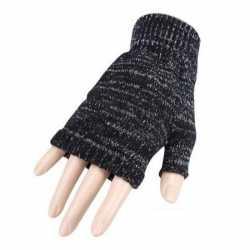 Carnaval vingerloze handschoenen grijs gemeleerd volwassenen