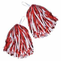 Cheerballs/pom poms in het rood/wit