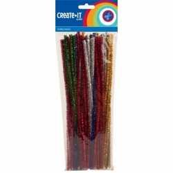 Chenilledraad diverse kleuren glitters 30 50 st