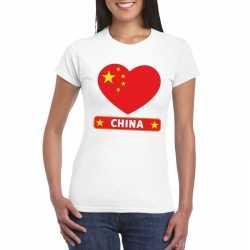 China hart vlag t shirt wit dames