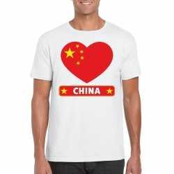 China hart vlag t shirt wit heren