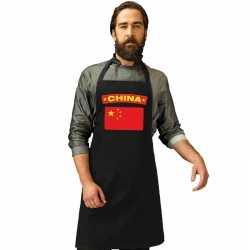 China vlag barbecueschort/ keukenschort zwart volwassenen