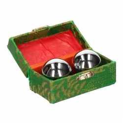 Chinese meridiaankogels 4,5 zilver in groen kistje