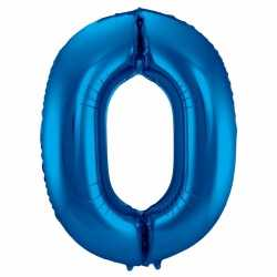 Cijfer 0 ballon blauw 86