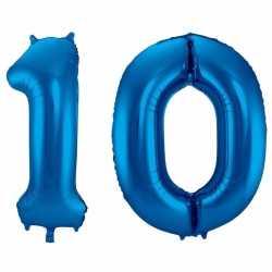 Cijfer 10 ballon blauw 86