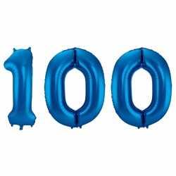 Cijfer 100 ballon blauw 86