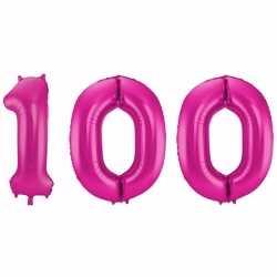 Cijfer 100 ballon roze 86