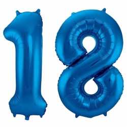 Cijfer 18 ballon blauw 86