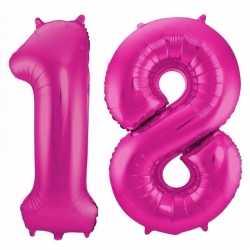 Cijfer 18 ballon roze 86