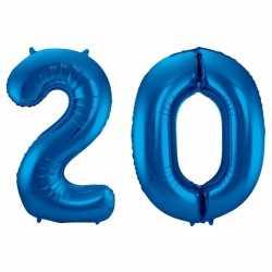 Cijfer 20 ballon blauw 86