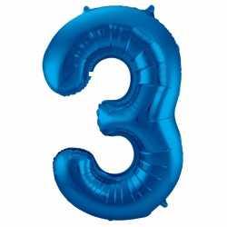 Cijfer 3 ballon blauw 86