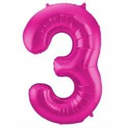 Cijfer 3 ballon roze 86