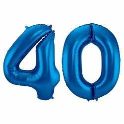Cijfer 40 ballon blauw 86