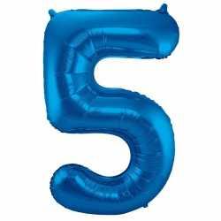 Cijfer 5 ballon blauw 86