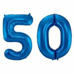 Cijfer 50 ballon blauw 86
