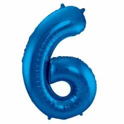 Cijfer 6 ballon blauw 86