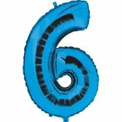 Cijfer 6 ballon blauw