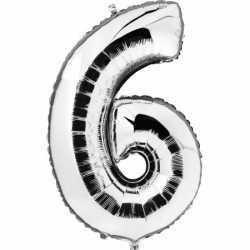 Cijfer 6 ballon zilver