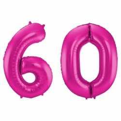 Cijfer 60 ballon roze 86