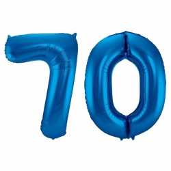 Cijfer 70 ballon blauw 86