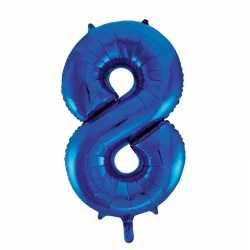 Cijfer 8 folie ballon blauw van 86