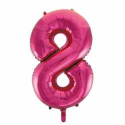 Cijfer 8 folie ballon roze van 86