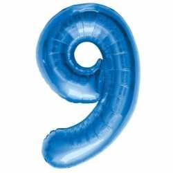 Cijfer 9 ballon blauw 86