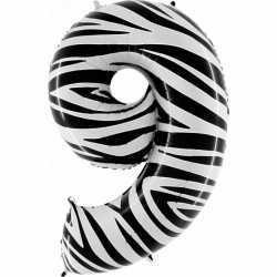 Cijfer 9 ballon zebra