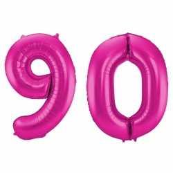Cijfer 90 ballon roze 86