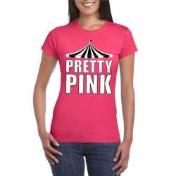 Circus t shirt roze pretty pink witte letters dames